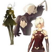 Nier:automata sketches by LilyDemian