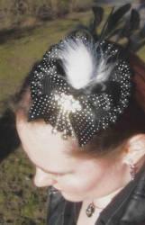 Black polka dot fascinator by fairyfrog