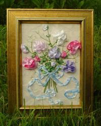 Silk ribbon sweetpea by fairyfrog