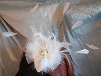 Ivory teardrop fascinator by fairyfrog