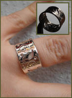 Elven Dream silver ring with pierced scrollwork by fairyfrog