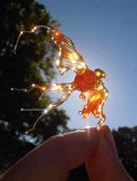 Flamechild - lampwork phoenix glass bead by fairyfrog