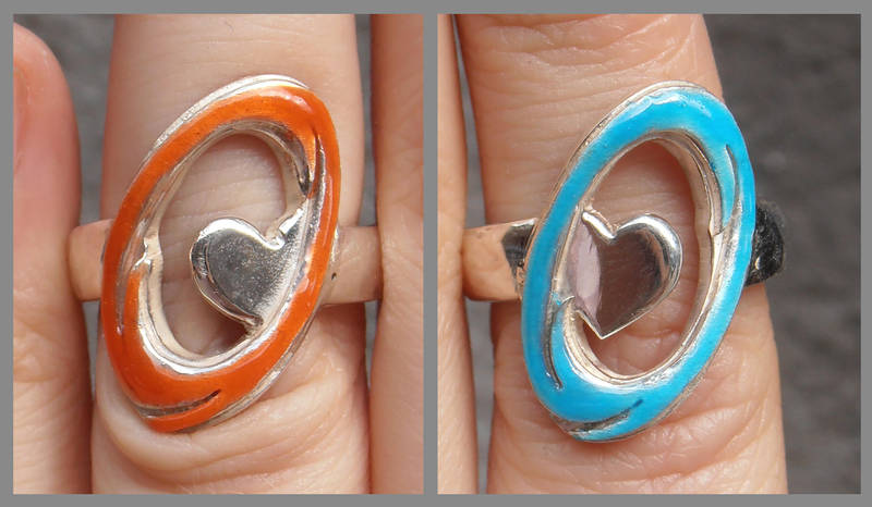 Still Alive Portal engagement rings closeup by fairyfrog