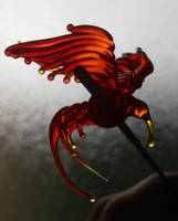 Bird of paradise tiny glass sculpture by fairyfrog