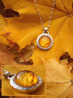 Autumn rose pendant by fairyfrog