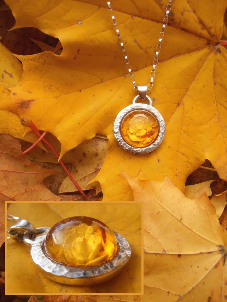 Autumn rose pendant by fairyfrog