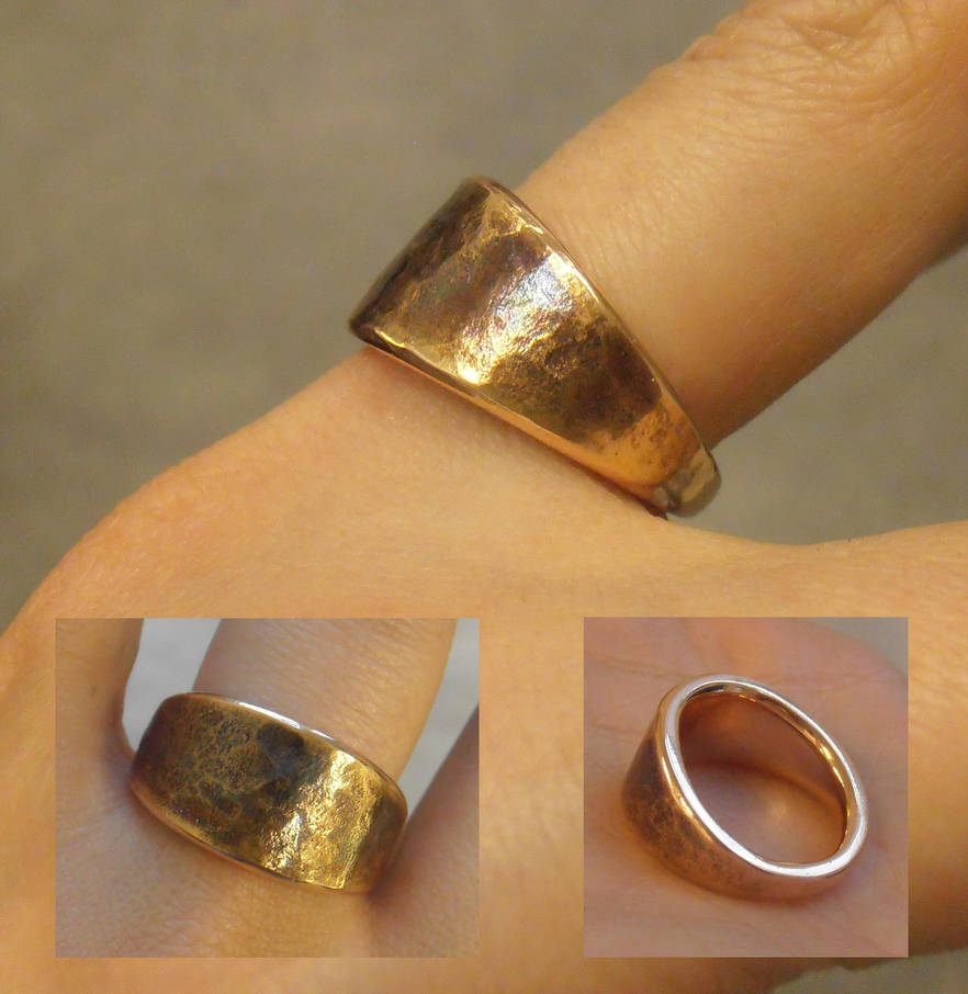 Dwarf inspired ring in red gold by fairyfrog