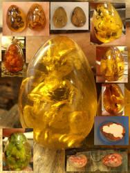 Leeroy the amber dragon in progress by fairyfrog