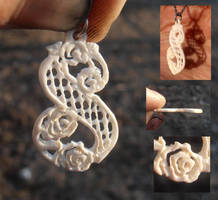 Lattice lace monogram S pendant in ivory by fairyfrog