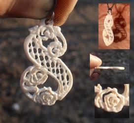 Lattice lace monogram S pendant in ivory by fairyfrog