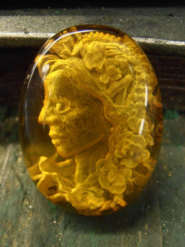 Fae Flower Maiden cameo intaglio. by fairyfrog