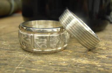 Mokume wedding rings Silver, Gold and Palladium by fairyfrog