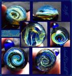 Galaxy glass pendants by fairyfrog