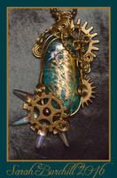 Steampunk Pendant in wire wrap by fairyfrog