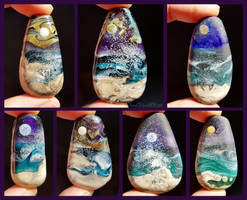 Longing for the Sea glass pendants by fairyfrog