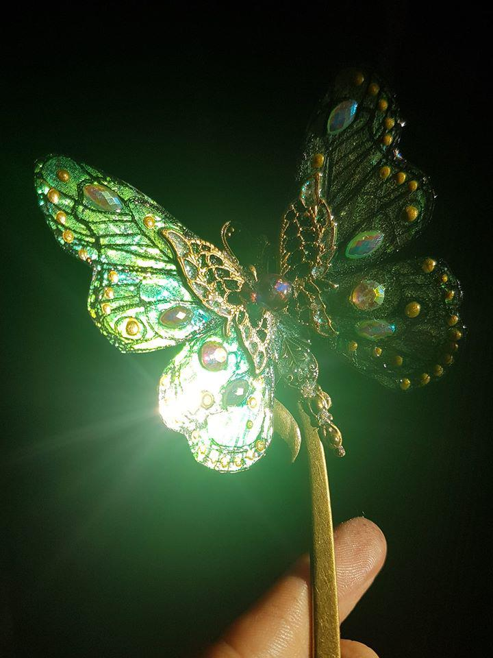 Green Flame butterfly hairpin by fairyfrog