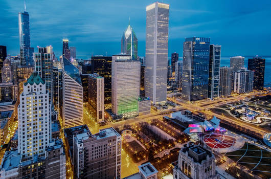chicago at dusk by maltedhens