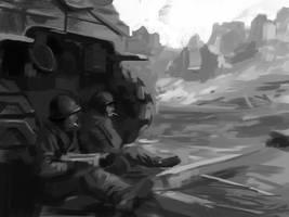 Having a break - quick WW2 study doodle by JordyLakiere