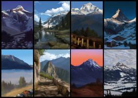 8 Mountain studies by JordyLakiere