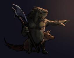 Pointinglizardwithanaxeandadog by JordyLakiere