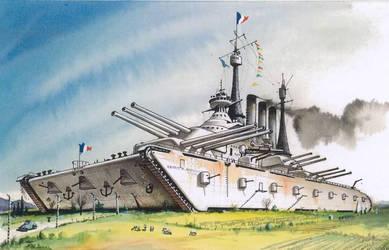 french_mega_land_battleship_by_anandafau