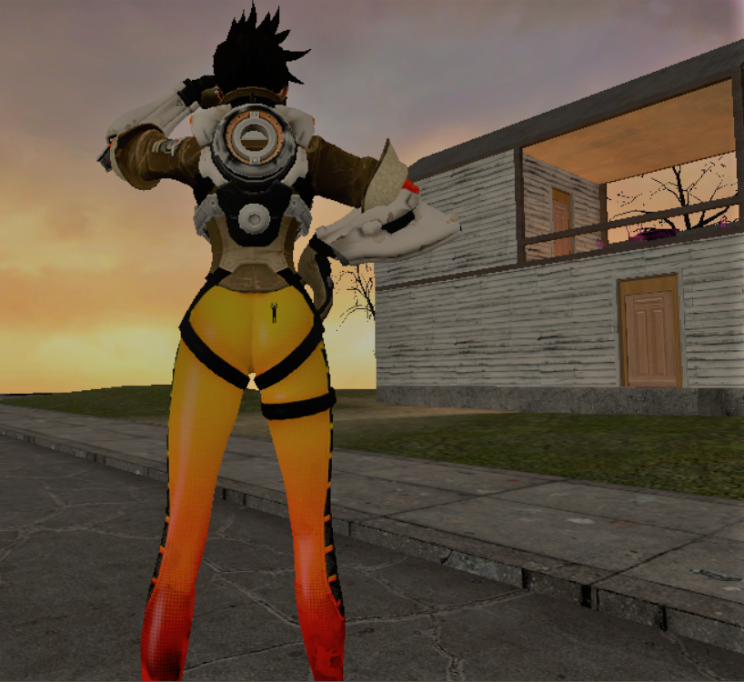 Giantess Overwatch Tracer's butt crush (Story) by jawsjr2