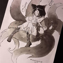 Inktober Ahri by Pandhes