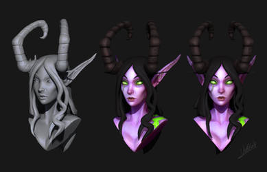 Female Demon Hunter Bust by VeKKat