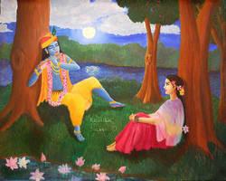 Krishna Plays His Flute by Radhikita