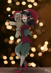 Christmas elf - Art trade by linda0808