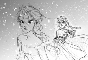 Elsa and Anna - sketch of Frozen by zPePhungz