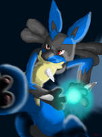 Lucario used Aura Sphere by Hakues-sparkle-dream