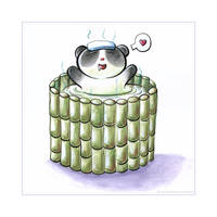 Panda Bath Tiem by snowmask