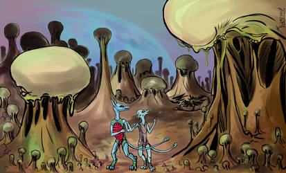 Mushroom grove by fulmenoid