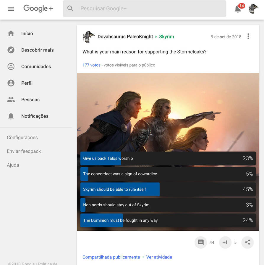GOOGLE PLUS POLL RESEARCH RESULTS: STORMCLOAKS by DovahsaurPaleoKnight