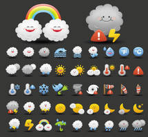 Vector Cartoon weather icons by FreeIconsFinder