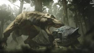 T.rex vs Ankylosaurus by WillDynamo55