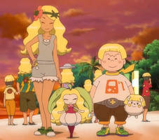 Mallow, Sophocles and Pokemon wearing Wigs by WillDynamo55