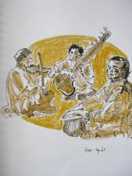 Menuhin, Shankar and Rakha by dauwdrupje