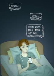 Hazel texting with Augustus by maszyu