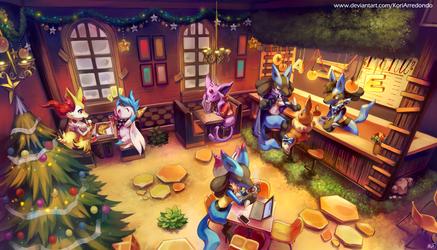 Pk Lucario Alpha's Cafeteria by KoriArredondo