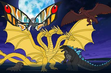 Godzilla KOTM Chibis by BrunoZillinHero