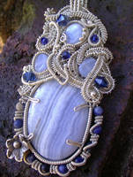 Sculptured Blue Lace Pendant by shazzabeth