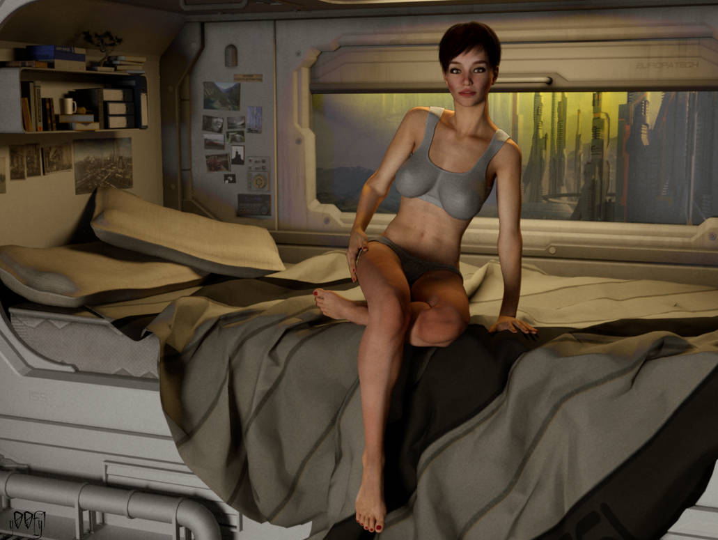 DAZ3D Cora in SciFi Room by g00fy1