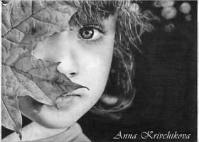 A Girl with a a leaf by AnnaKrivchikova