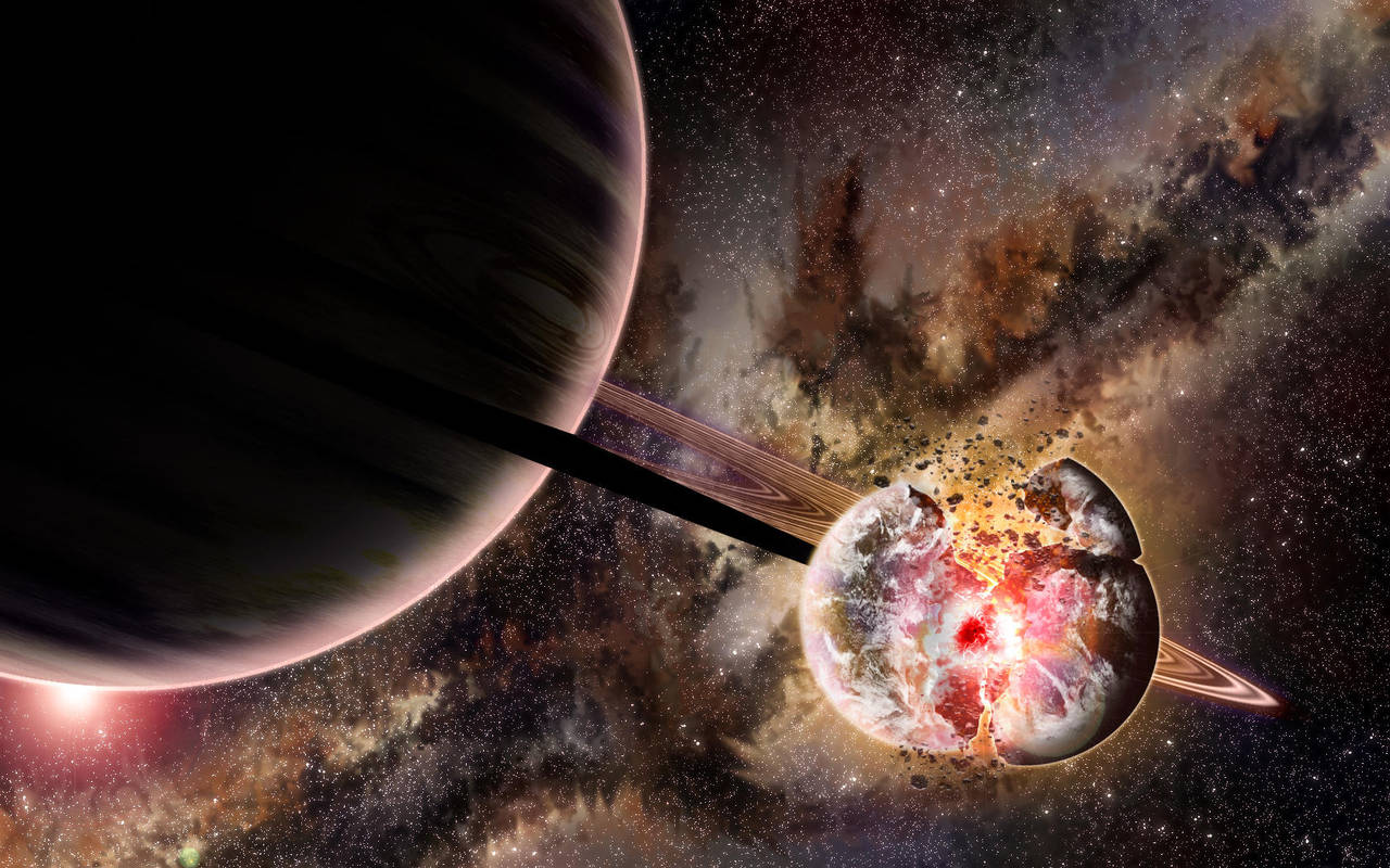 Gas giant with exploding planet by Xprinceofdorknessx