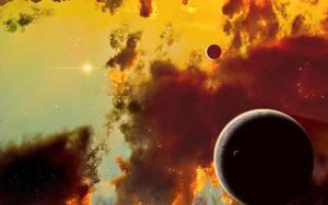 Planets inside a nebula by Xprinceofdorknessx