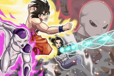 Universe 7 vs Jiren by HiroSenpaiArt
