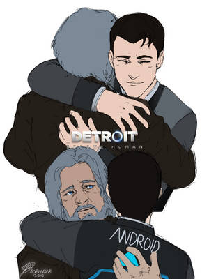 Detroit: Become Human - Connor and Hank hug flats by Norvadier