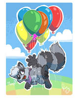 Flying coon by pandapaco